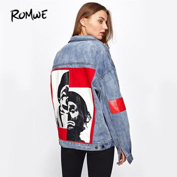Bleach Wash Denim Jacket Coat Punk Style Women Patch Back Letter Print Jean Jackets Autumn Blue Button Up Jacket