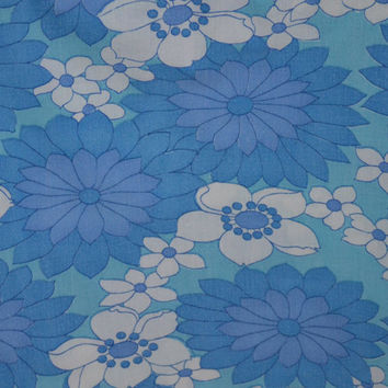 Retro fabric  blue turquoise floral swedish vintage 70s