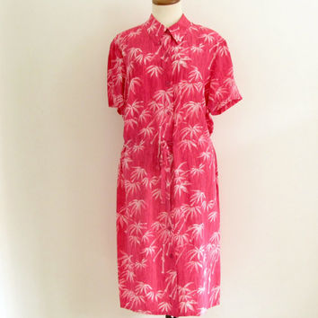 hawaiian midi dress - 90s vintage Diane von Furstenberg pink tropical print slouchy oversized button down silk shirt dress