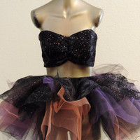 halloween tutu costume for women spider web tutu and bandeau sexy witch costume edc edm rave plur festival outfit rag tutu