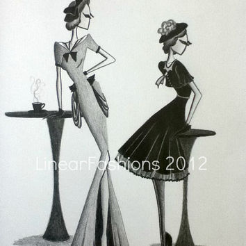 Mothers Day Gift Fashion Illustration Original by LinearFashions