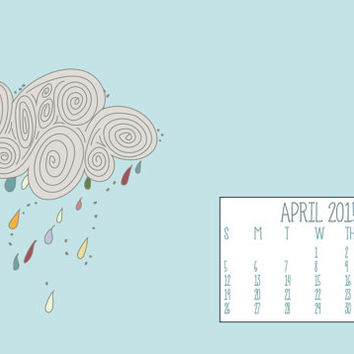 Instant Download - April 2015 Rain Cloud Showers Rainbow Spring Season Illustration Computer Desktop Monthly Calendar