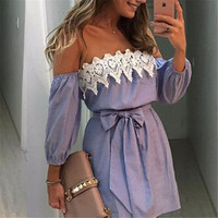 Off Shoulder Blue Striped Mini Dress