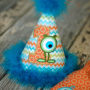 Little Monster Birthday Party Hat - First Birthday, Any Birthday, Smash Cake Pics, Photo Prop - Lil Monster Orange, Teal, Lime Chevron