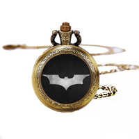 Victorian Charm Batman Pocket Watches Necklace,Gift Necklace,Unisex Necklace Y165 (Size: 72 cm, Color: Bronze Yellow) = 1927916356