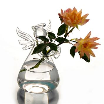 Hot New Cute Glass Angel Shape Flower Plant Stand Hanging Vase Hydroponic Container Office Wedding Decor