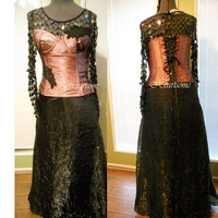 Masquerade gown  Steampunk Victorian Gothic Formal prom skirt sequin top corset dress OOAK