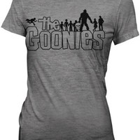 The Goonies Retro Movie Outline Logo Ash Grey Juniors T-shirt