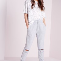 Missguided - Rip Knee Joggers Light Grey