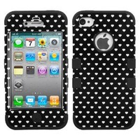Black Hearts White TF Skin Apple iPhone 4 4S Hybrid 2 in 1 Hard Protector Hard Cover Soft Rubber Skin Protector Case fits Sprint, Verizon, AT&T Wireless