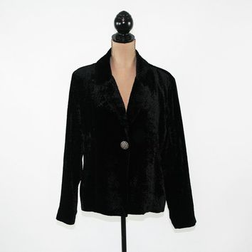 Black Velvet Jacket Women XL Velvet Blazer Black Jacket Size 16 Jacket Chicos Size 3 Plus Size Clothing Womens Clothing