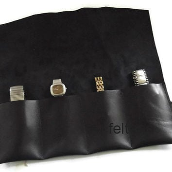 Leather Watch Roll, Tool Roll, Roll Pencil Case, Travel Case,4 Slots,  Italian Black Nappa Leather.