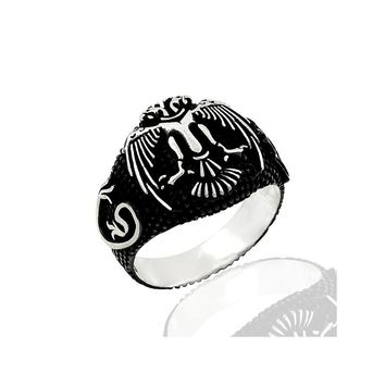 Double headed eagle sterling silver blacked mens ring