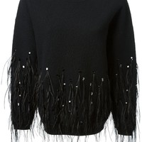 DKNY feathers and sequins embroidered sweatshirt