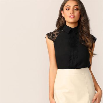 Black Eyelash Lace Trim Collared Top Elegant Blouse Women Cap Sleeve Solid Mock-neck Womens Office Tops and Blouses