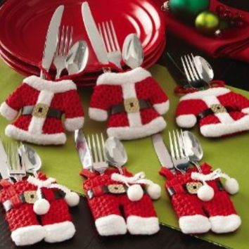 Santa Suit Christmas Dinner Flatware Holders, 6Pc