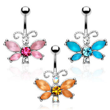 Belly Ring-Frosted Butterfly
