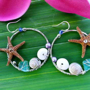 Starfish Seashell Wire Wrapped Hoop Earrings