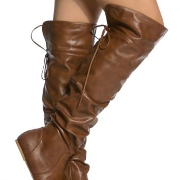 Chestnut Faux Leather Knee High Slouch Boots @ Cicihot Boots Catalog:women's winter boots,leather thigh high boots,black platform knee high boots,over the knee boots,Go Go boots,cowgirl boots,gladiator boots,womens dress boots,skirt boots.