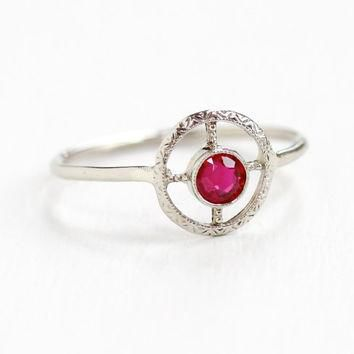 Antique Art Deco 10K White Gold Created Ruby Target Ring - Vintage 1920s Round Open Fi