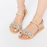 ASOS FOR REAL Wide Fit Flat Sandals