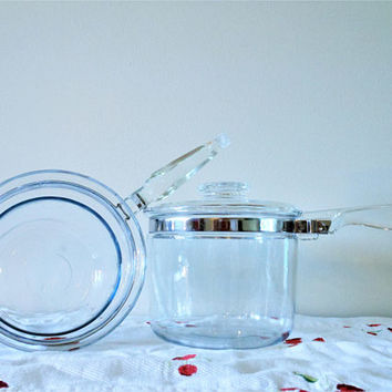 Pyrex Flameware Double Boiler, Vintage Glass Double Boiler,  Pyrex 6283 Double Boiler, Made in USA