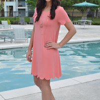 Peach Scalloped Shift Dress