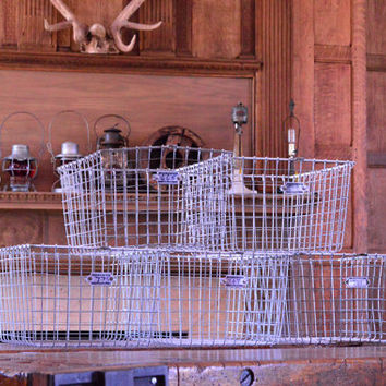 Vintage Wire Baskets, Gym Locker Basket, Industrial Wire Basket, Storage Baskets