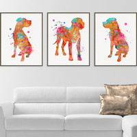 Great Dane Watercolor Art Print, Great Dane Painting, Set of 3 Prints, Great Dane Wall Art, Great Dane Wall Decor, Dog Lover Gift, Colorful