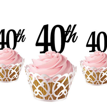 4 pcs a set  CupCake topper 40th, cake decor for 40th birthday, acrylic cupcake toppers party decor, cake topper supplies