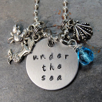 "The Little Mermaid Necklace Hand Stamped ""Under The Sea"" on Metal Chain Disney Jewelry"