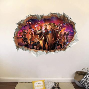 The Avengers Super Heroes 3D Wall Hole Stickers For Home Decorations Kids Nursery Rooms Decor PVC Living Room Mural Art Poster