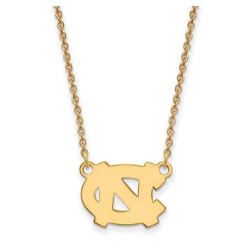 NCAA 10k Yellow Gold North Carolina Small 'NC' Pendant Necklace