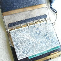 leather binder, indigo rose, navy planner, rose diary, planner binder, refillable planner, navy planner , for filofax refill, diary cover