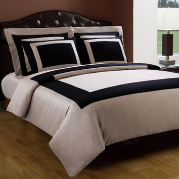 Black/Taupe Hotel Down Alternative Bed in A Bag