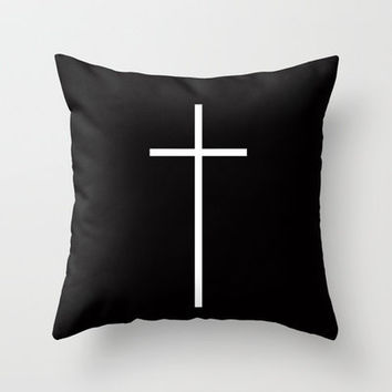 Christian Cross Black Throw Pillow by RexLambo