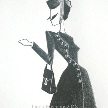 Fashion illustration / 1940s black coat / original pencil drawing / art gift