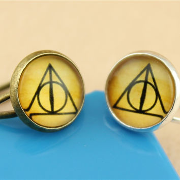 WYSIWYG 2 Colors Handmade 12mm Harry Potter Death Hallow Photo Glass Cabochon Adjustable Copper Rings for Women R-G12-315