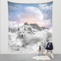 The Soul That Sees Beauty (Winter Moon / Wolf Spirit) Wall Tapestry by Soaring Anchor Designs