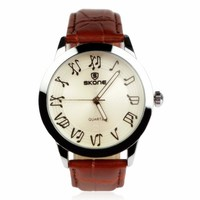 ZLYC Unisex Novelty Musical Note Vintage Brown Faux Leather Strap Wrist Watch