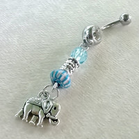 "Elephant 14 gauge stainless steel belly navel ring, body jewelry, 14g, 2.5"" long"