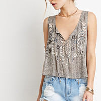 Embroidered Tribal Print Top