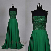 Custom Dark Green Sequins Long Prom Dresses Fashion Evening Dresses Bridesmaid Dresses 2014 Formal Party Dress Evening Gowns New Party Dress