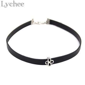 Gothic Punk KPOP EXO Black Leather Choker Necklace Baekhyun Chanyeol Kai EXO Logo Pendant Choker Collar Jewelry for Men Women