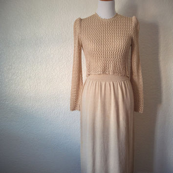 Vintage 90's Knit Dress Tan with Crochet Overlay