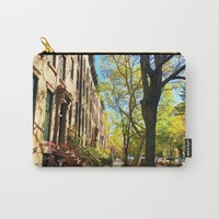Cobble Hill Brooklyn New York in the Fall, Brownstones Carry-All Pouch by ANoelleJay