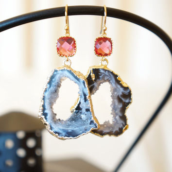 Ruby Pearl Agate Geode Earrings, Agate Earrings, Agate Druzy Earrings, Druzy Geode