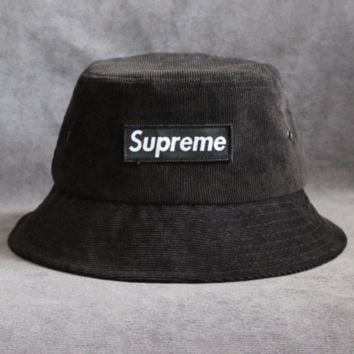 Supreme Women Fashion Letter Logo Beret Cap Painter Hat Black
