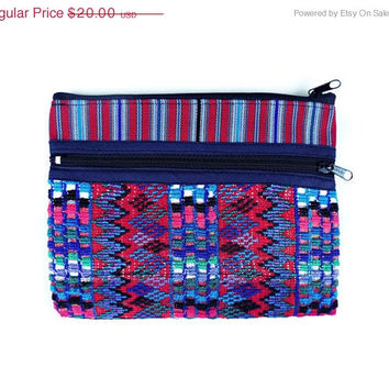 ON SALE Fabric clutch, small purse, hand woven bags