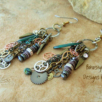Industrial Chic Jewelry, Urban Chic, Watch Gear Assemblage Earrings, Mixed Media, Altered Art, Steampunk, Bohostyleme Designs by Kaye Kraus